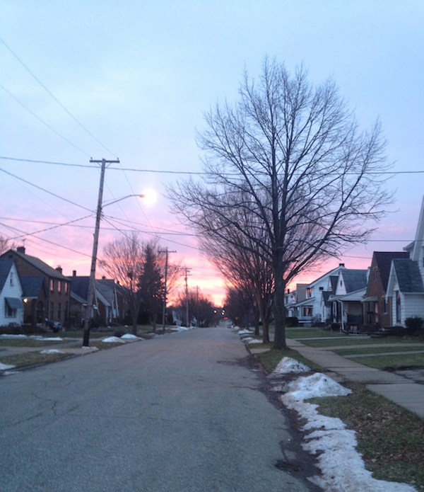 Cell phone photo of my cute little street and a particularly beautiful sunrise  |  Rental Revival