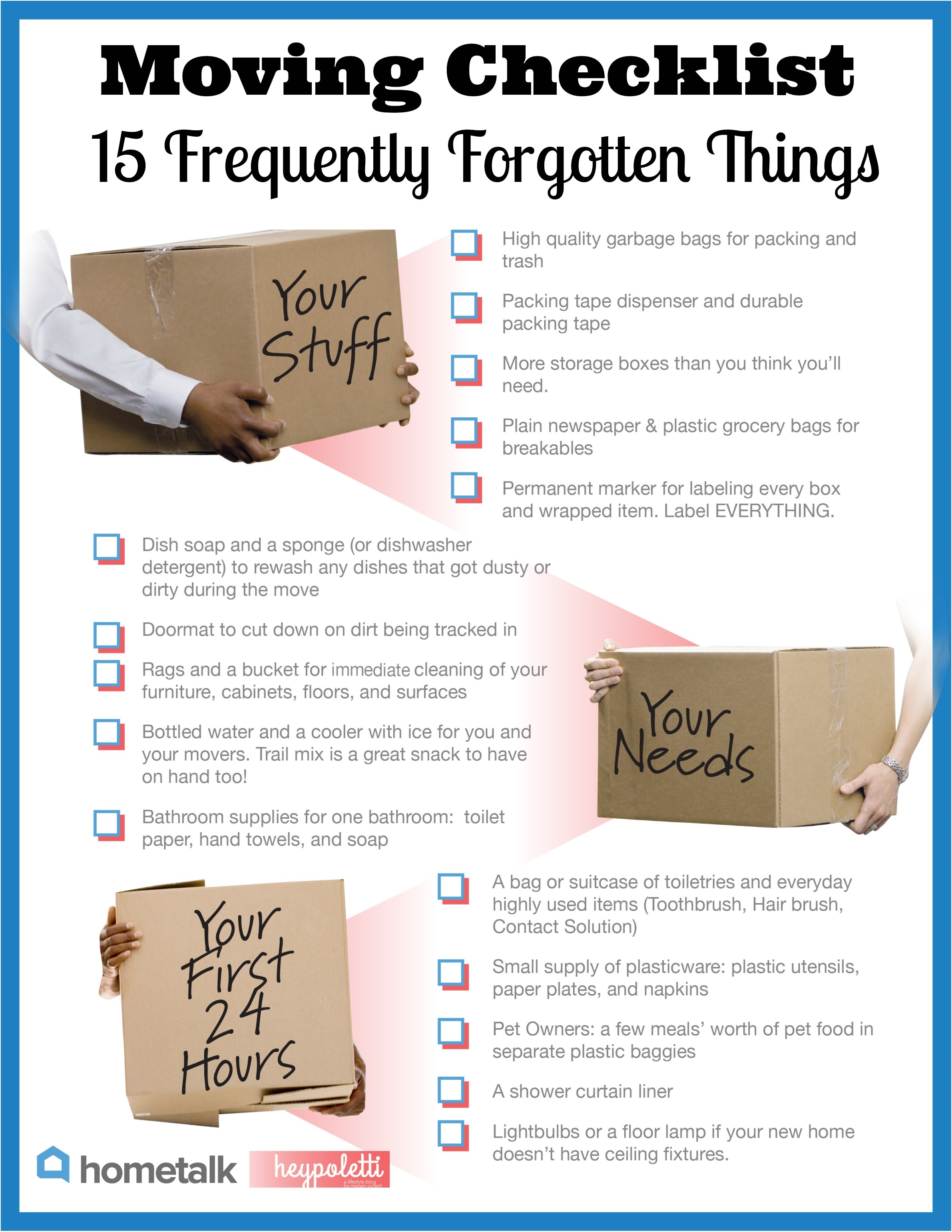 Moving Checklist: 15 Frequently Forgotten Things | via Hometalk and heypoletti.com