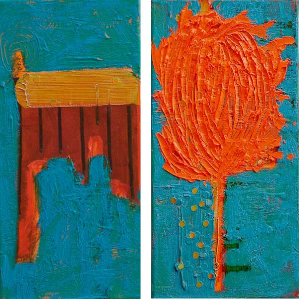 Meanwhile, Back at the Ranch 2.0  2012 | oil and sequins on canvas | 12 x 12 (diptych) | $300