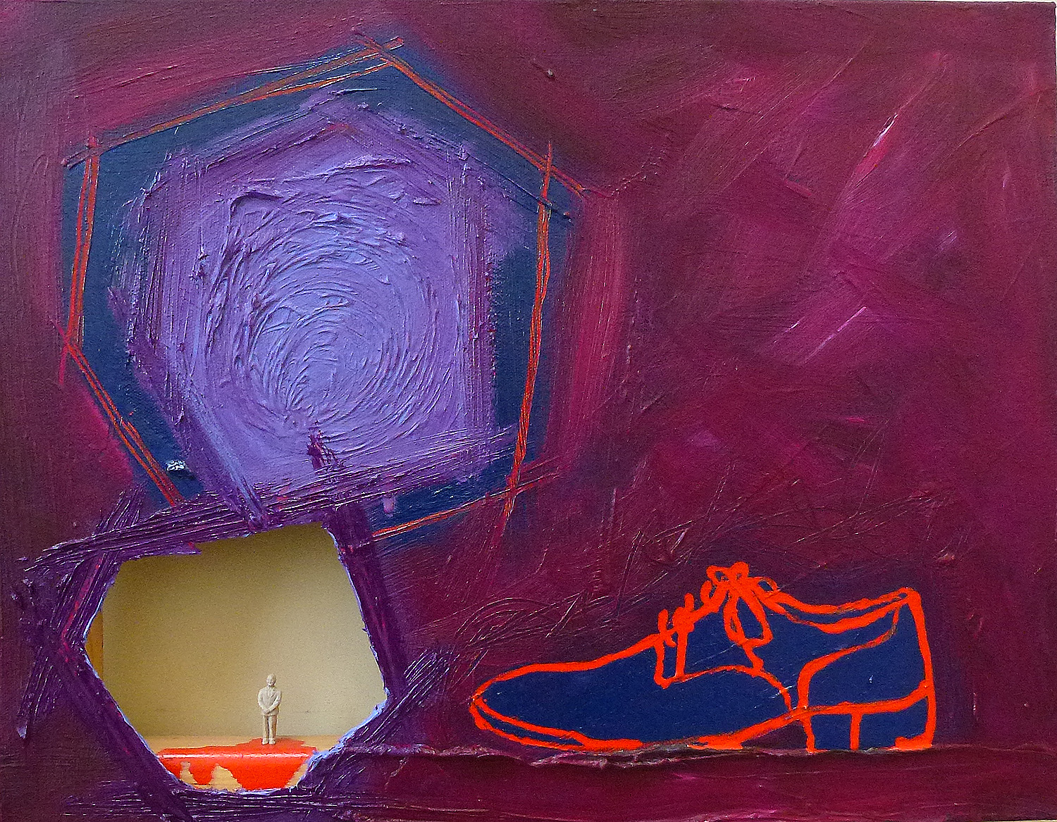 This is Not Very Exciting News 2.0   2014 | oil and found objects on canvas | 14 x 18 | $400