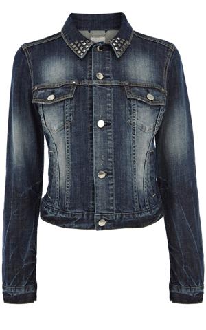 Karen Millen studded collar denim jacket  with 3/4 sleeves, $225