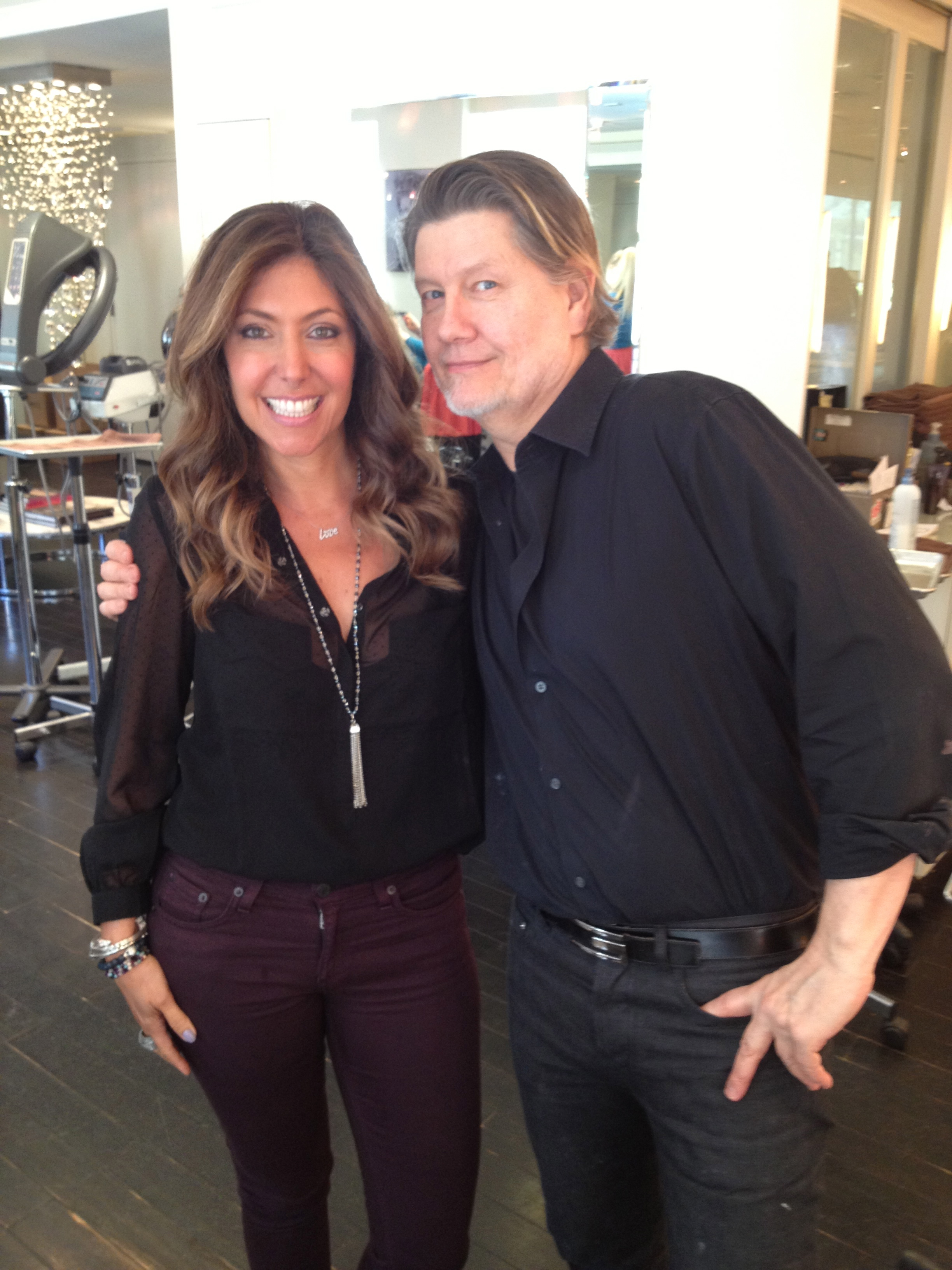 With Steve after he performed his usual magic! Honey colored highlights, lighter at the ends. LOVE!