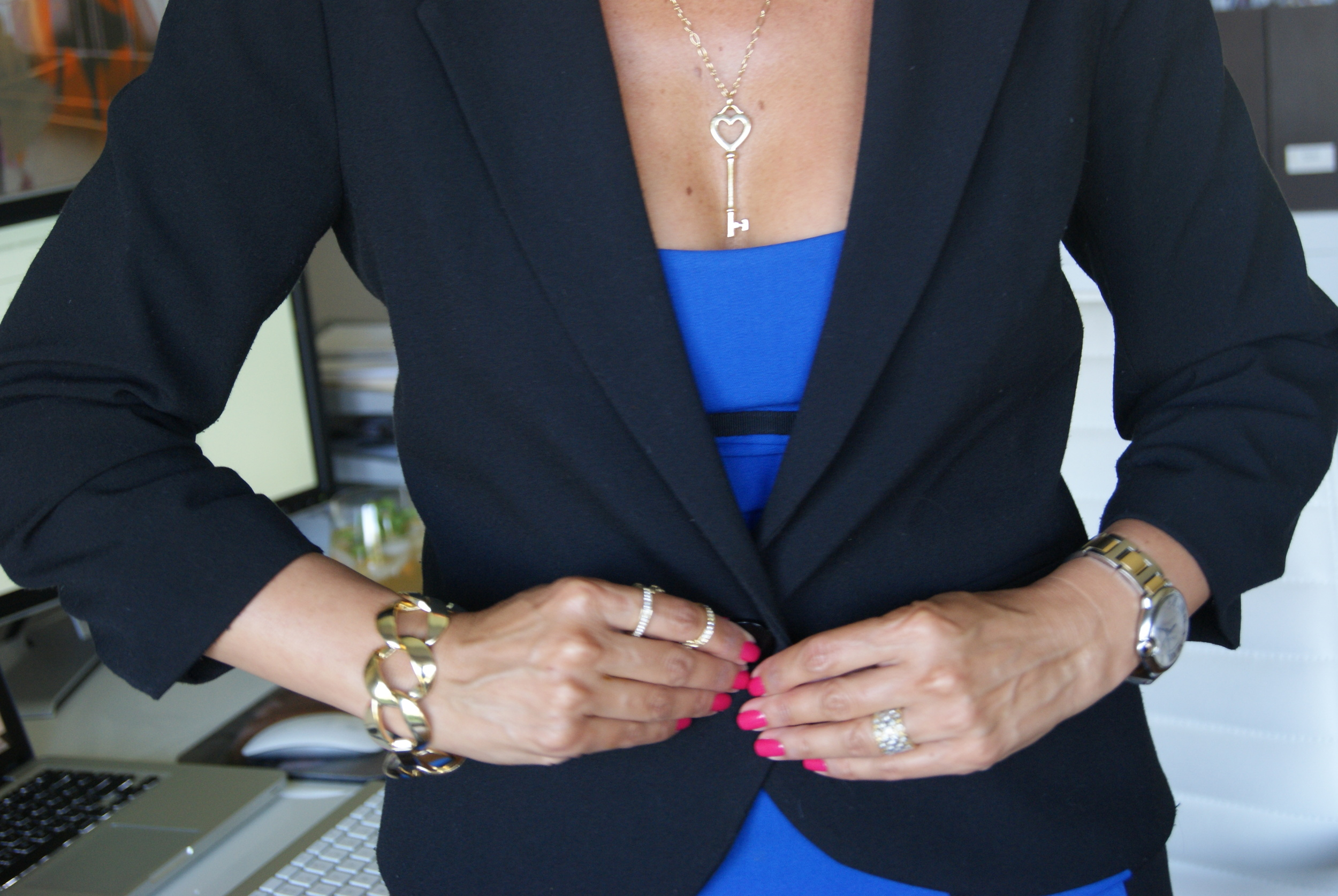 Gold Key Heart Necklace by Tiffany & Co. ,  Watch is Ballon Bleu de Cartier , Bracelet by  Jennifer Millerjewelry ,Rings,  Lori Wilkins Immerman  and a find in a Santa Monica boutique.