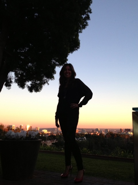 In my back yard in Bel Air. Beautiful pink sunset with a view of LA.