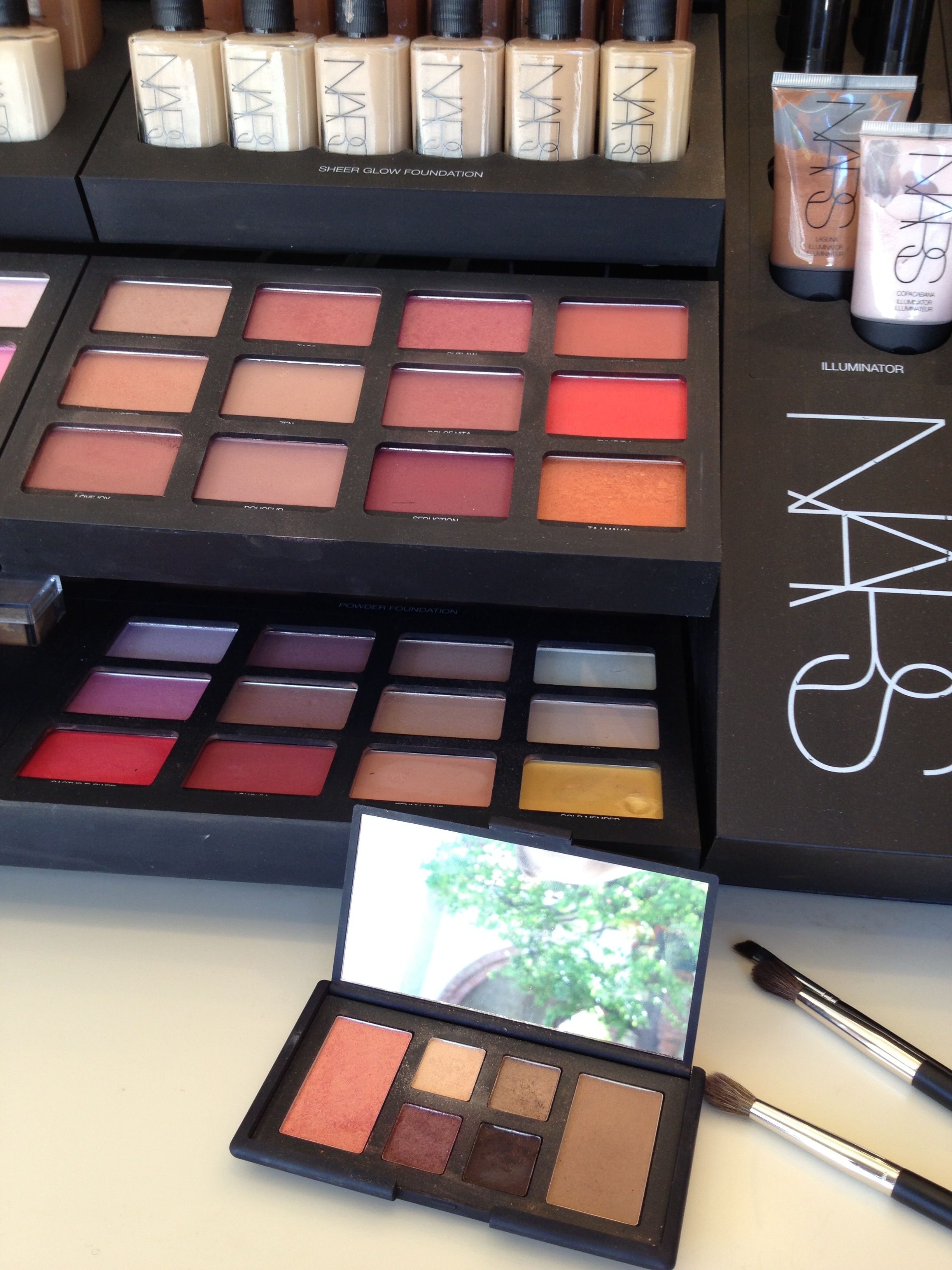 At Space.N.K. apothecary in Brentwood, CA. Pictured at the bottom: Nars, The Happening Eye & Cheek Palette, $65