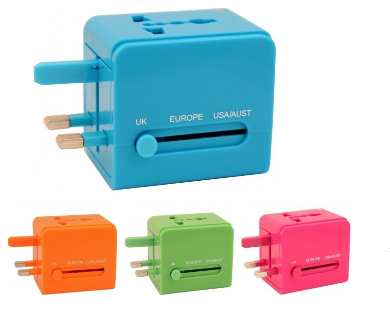 Add a pop of color with this adapter when traveling overseas.  Flight 001 Universal Travel Adapter ,$25