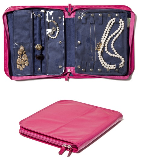 No wonder why this was coined the Birkin of jewelry bags.  Functional and stylish. Available in several colors. Clos-ette Too  Travel Jewelry Case  $50
