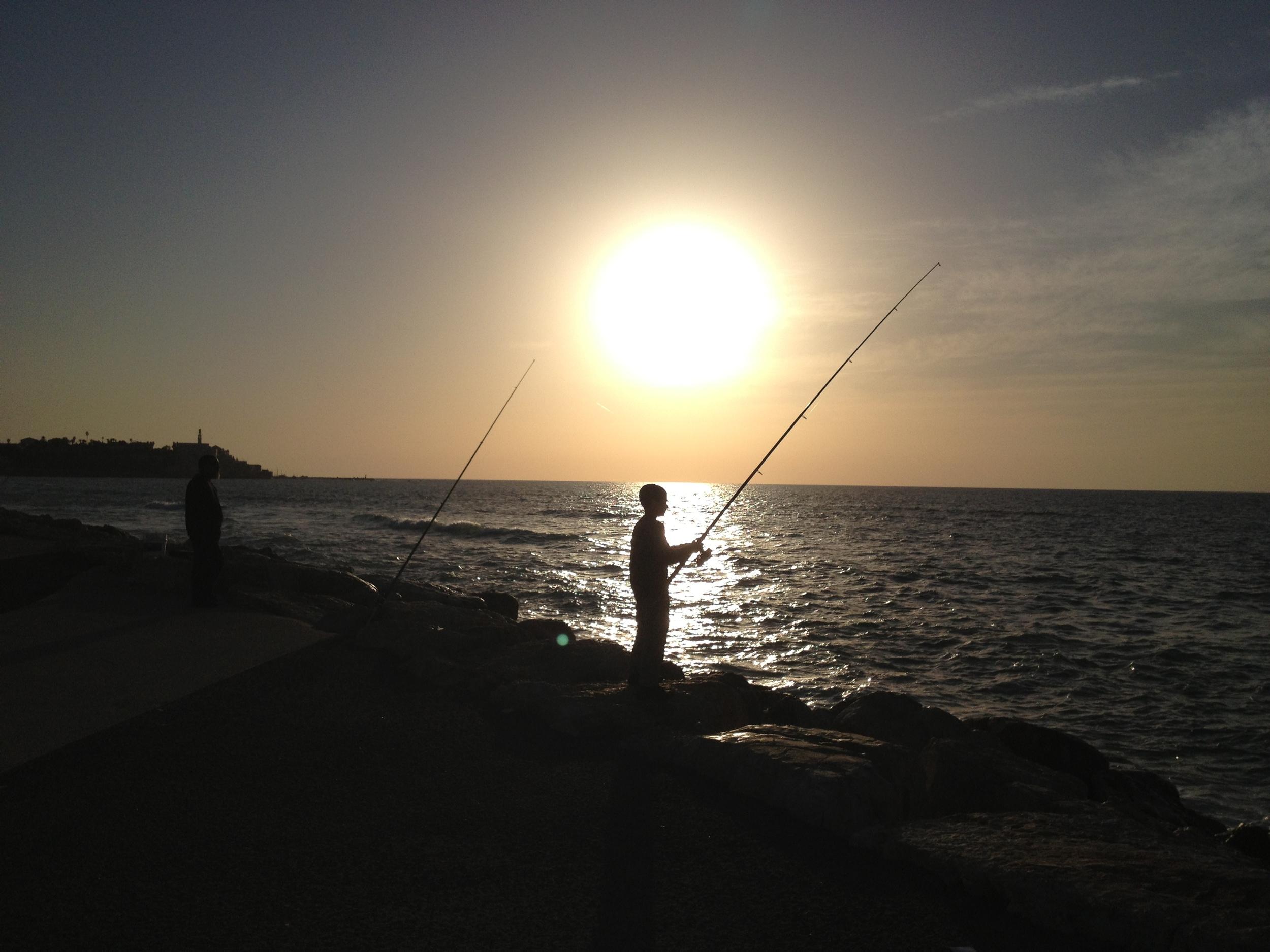 Fisherman in Tel Aviv, December 2012.