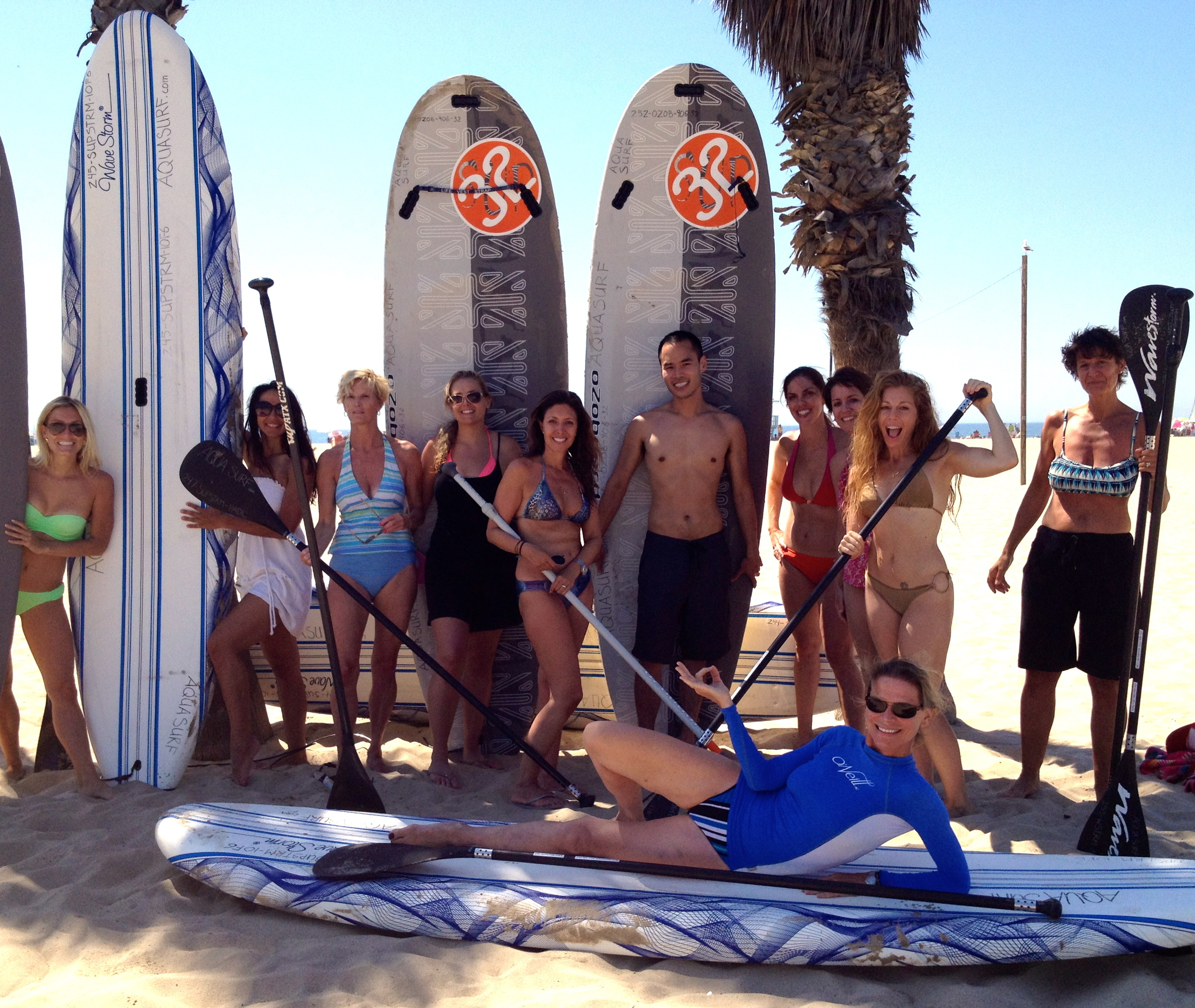 With the Exhale Spa retreat group in Santa Monica, Summer 2012. We conquered the waves getting in and out of the ocean!
