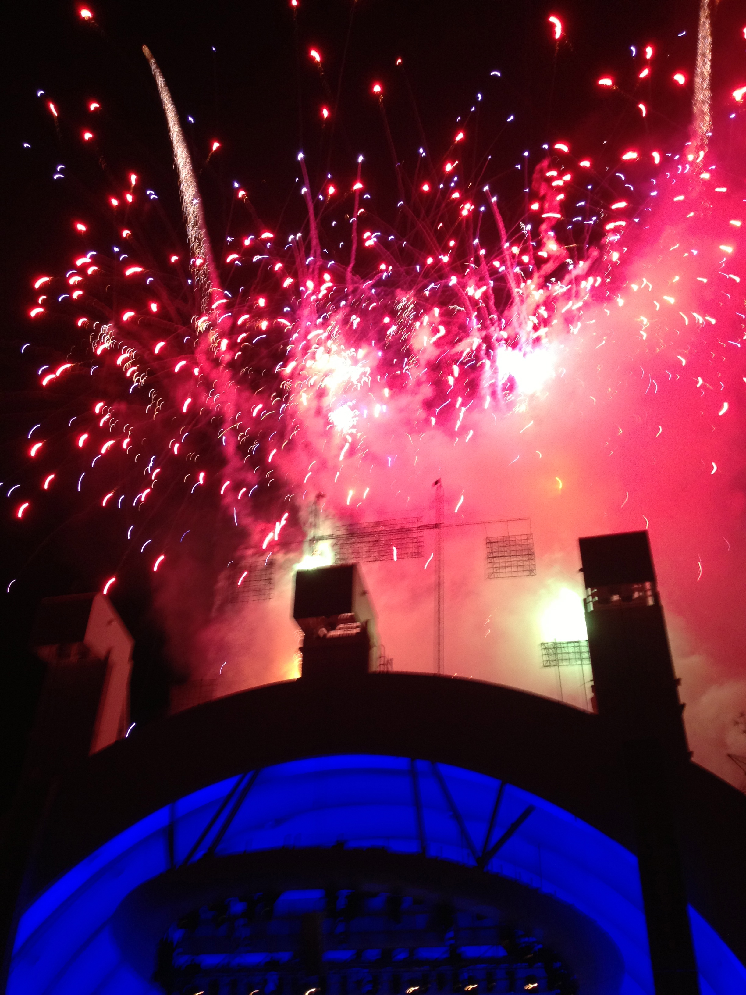 Fireworks at the Hollywood Bowl after the 4th of July performance by Josh Groban.