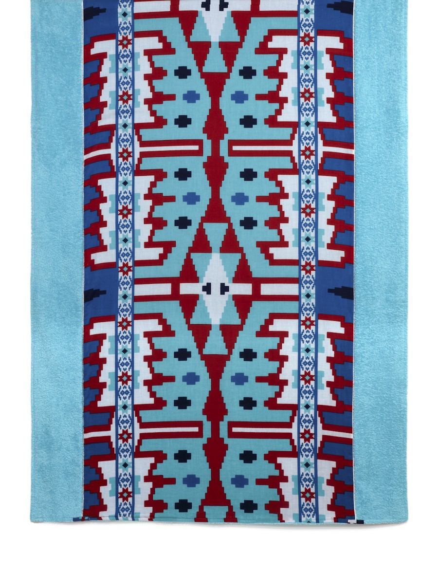 Theodora & Callum turquoise Yucatan beach towel, $150.