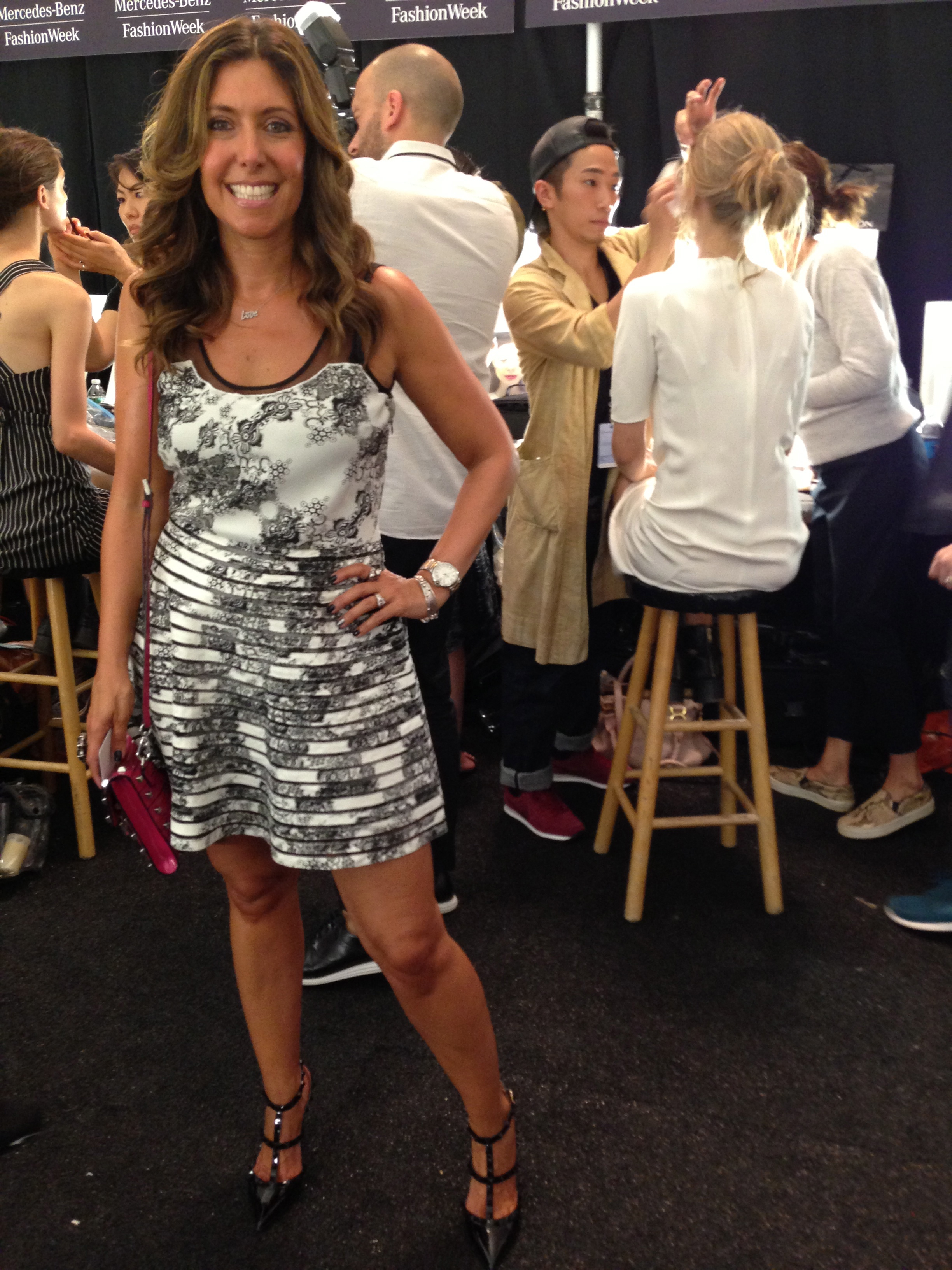Back Stage at J Mendel. Wearing my new Valentino pumps with a dress by  Parker, available for $298, Intermix.