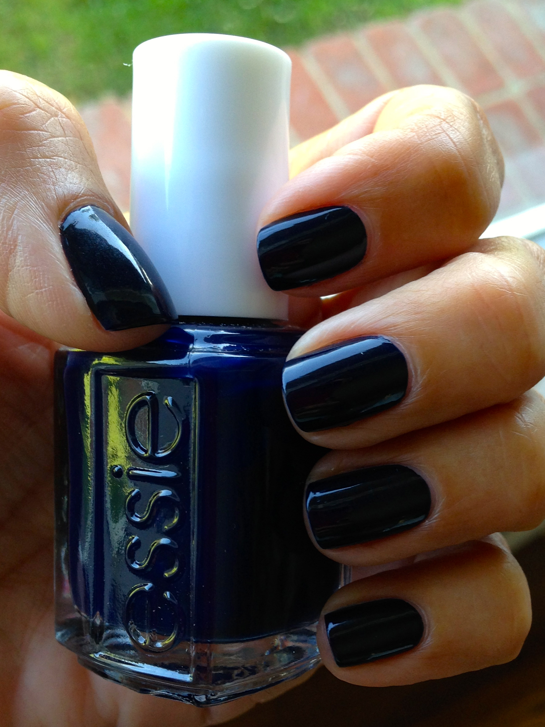 Nails are short with rounded corners. Essie makes the best deep, dark blue color for Fall,  After School Boy Blazer, $8.00