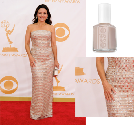 """Actress: Julia Louis-Dreyfus     essie shade:     blushing bride    ($8/ www.essie.com )   Inspiration : """"essie's blushing bride – a perfect flush of pale pink – was a flawless, rosy shade to compliment Julia's silver, structured Monique Lhuillier gown,"""" said Celebrity Manicurist, Emi Kudo."""