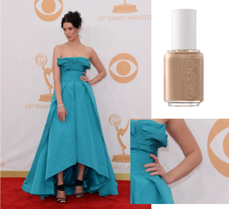 """Actress: Jessica Pare     essie shade:   brooch the subject    ($8/ www.essie.com )   Inspiration: """"We used essie's brooch the subject for Jessica's nails to compliment her stunning, turquoise dress. The final look was classic Hollywood,"""" said Celebrity Manicurist, Lisa Postma."""