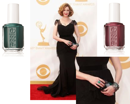 """Actress: Christina Hendricks     essie shades:   stylenomics    ($8/ www.essie.com ) and  skirting the issue    ($8/ www.essie.com )   Inspiration: """"To keep Christina's nails looking dark and edgy, without fading into her black dress, we layered essie's stylenomics and skirting the issue for a glamorous and unassuming look that popped against her gorgeous, emerald accessories,"""" said Celebrity Manicurist, Lisa Postma."""