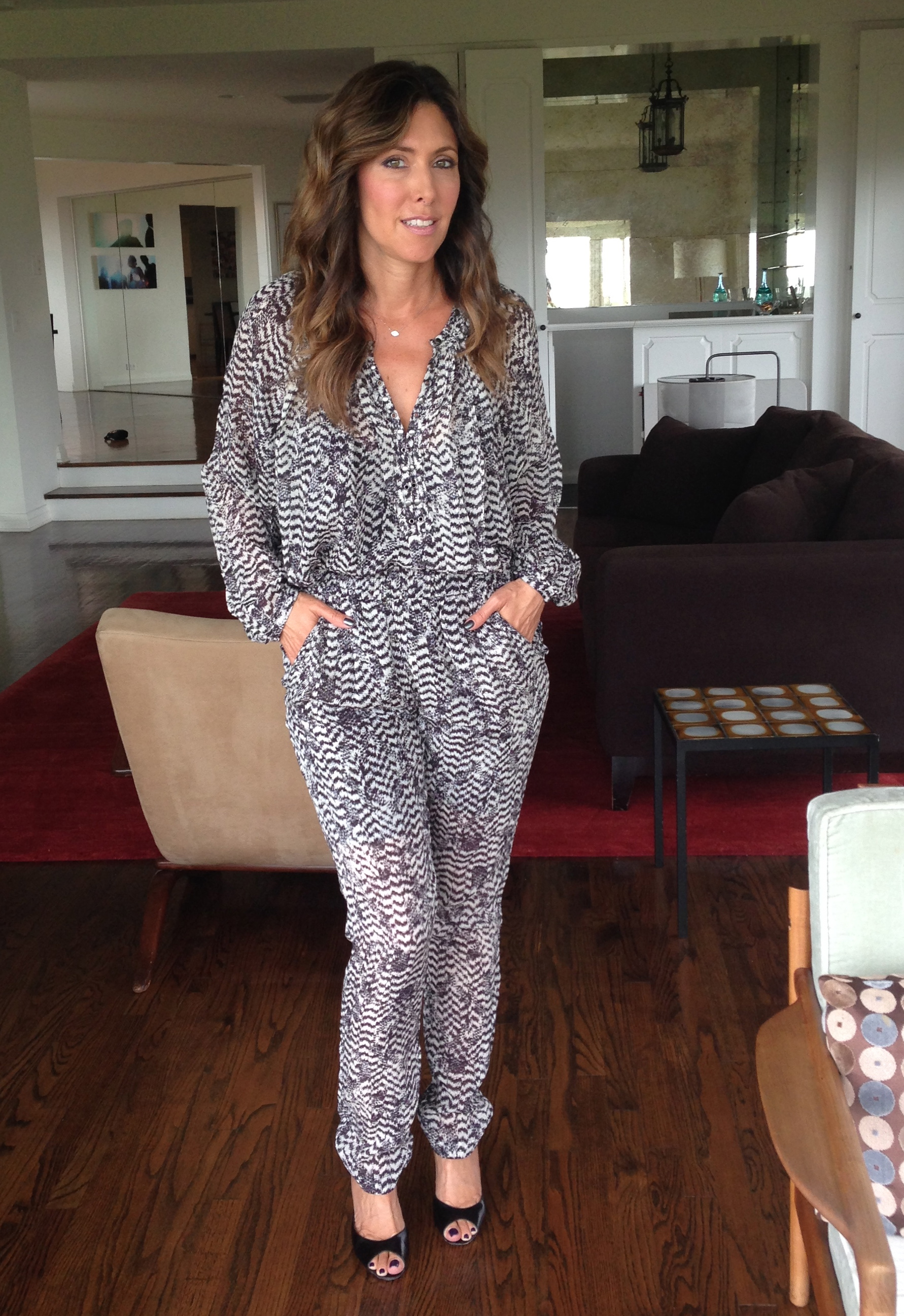 Isabel Marant patternedsilk top and pants, $99 each. Can be worn to look like a jumpsuit as shown here.