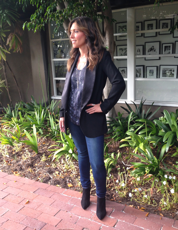 Isabel Marant sleeveless racerback linentank top, $29.95.Black wool jacket with silk lapels, $149.