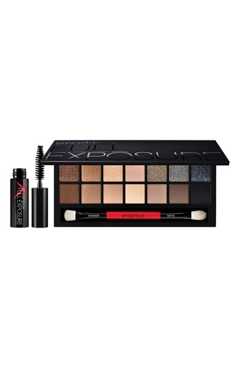 "Smashbox ""Full Exposure"" Eye Palette, Available at Nordstrom, $49    Includes a double-ended brush, Palette includes:- 14 eyeshadows (0.49 oz.)- Deluxe sample Full Exposure mascara (0.14 oz.)- Double-ended brushShades include:Shimmer:- Chocolate Brown with golden pearl- Deep Golden Brown with gold pearl- Soft Gold with gold and silver pearl- Light Tan with gold and silver pearl- Golden Wheat with gold pearl- Midtown Slate with silver pearl- Rich Grey with multicolor and silver pearlMatte:- Warm Chocolate Brown- Midtone Brown- Midtone Tan- Creamy Beige- Soft Light Taupe- Ashy Dark Brown- Suede Black"