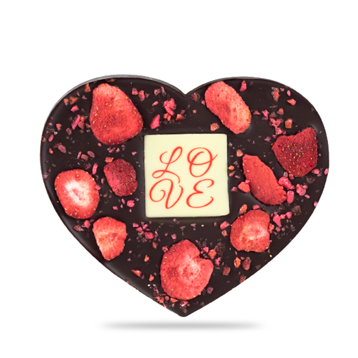 Chocomize dark Belgian chocolate bar with dried strawberries
