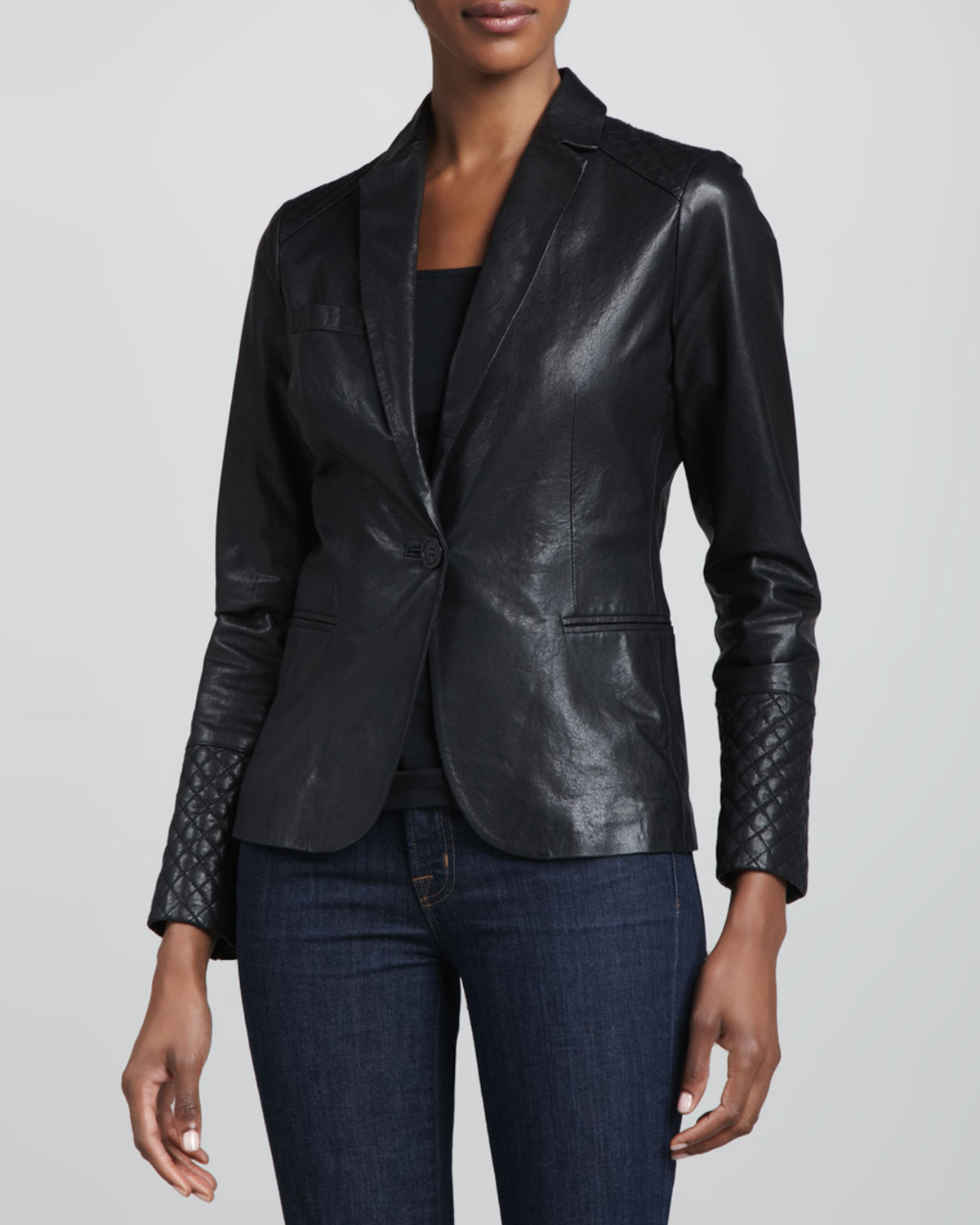 Neiman Marcus   One-Button Leather Blazer, $295