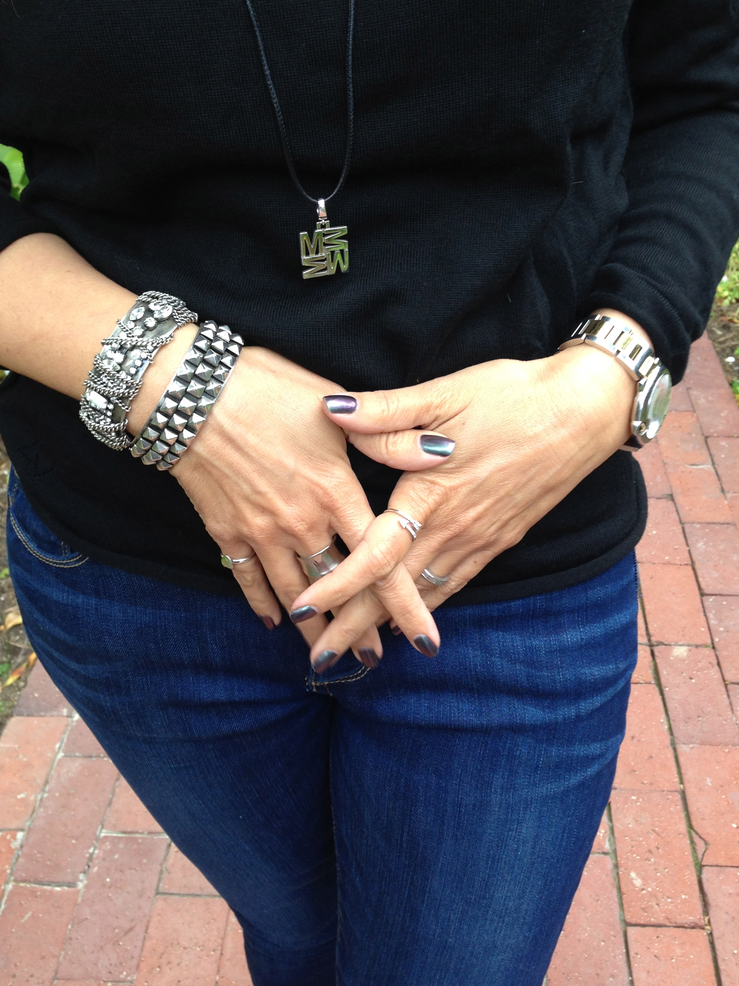 Love Letters Initial Necklace by India Hicks , Cuff bracelets by  Dannijo . Nail color is  Peace, Love & OPI.