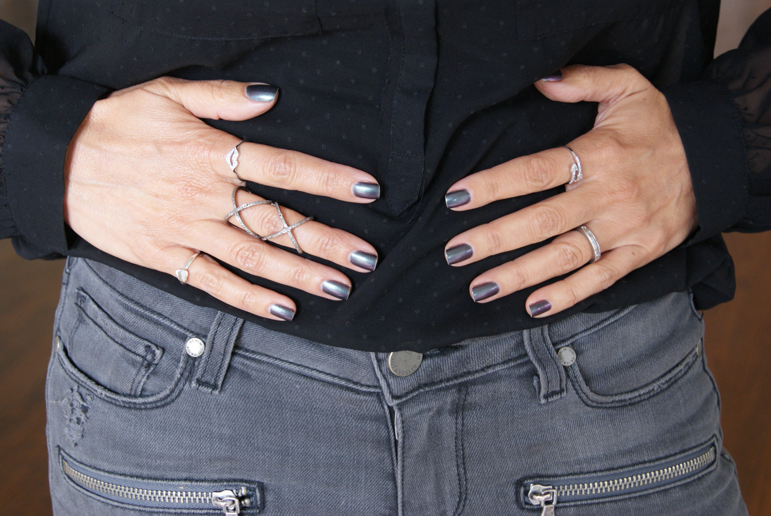 Double X ring and lips ring by Kelly Gerber Jewelry.