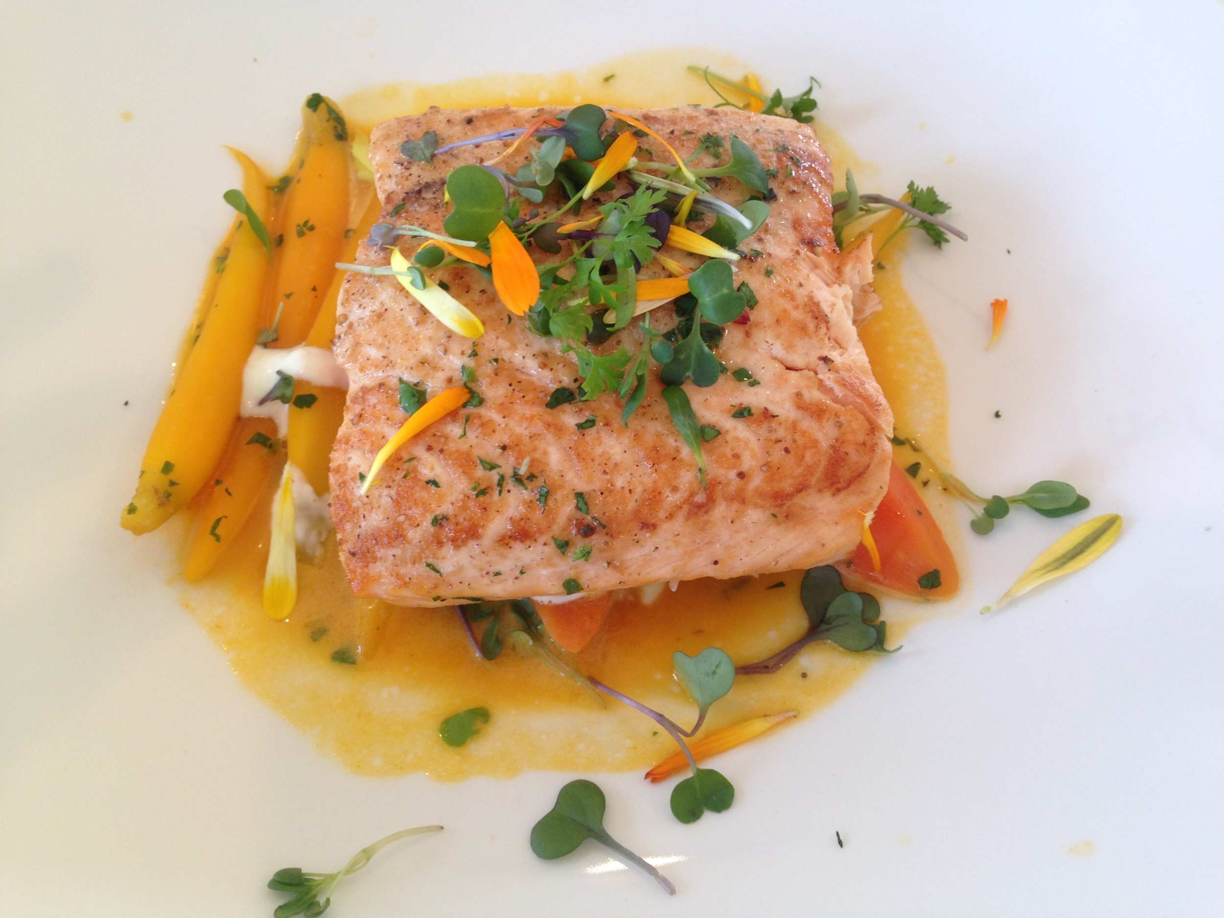 Salmon lunch at the Beverly Hilton.
