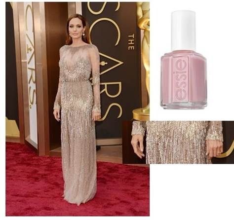 """Angelina Jolie    Inspiration: """"We chose essie's  sugar daddy  – the perfect shimmery pink to complement Angelina's classic beauty and gorgeous Elie Saab Haute Couture gown,"""" said Celebrity Manicurist Emi Kudo.  Essie shade: Sugar Daddy, $8.50"""