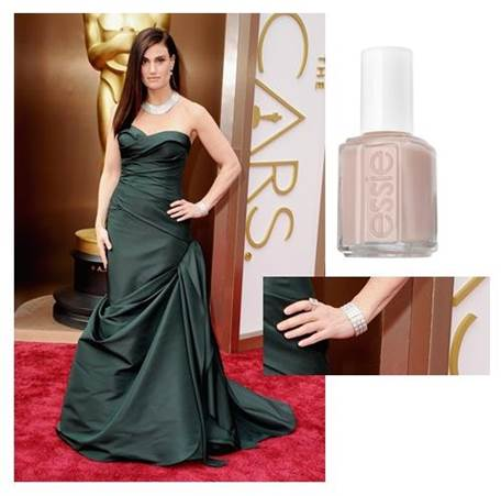 "Idina Menzel    Inspiration:  ""Idina wore essie's   blushing bride   – a flush of pale pink for a clean and chic look for the red carpet,"" said Celebrity Manicurist, Lisa Postma.     Essie shade: Blushing Bride, $8.50"