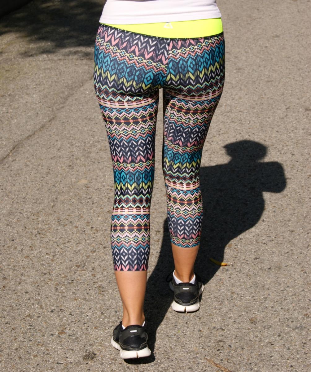 Pants: PRISMSPORT, Aztec capri leggings, $78