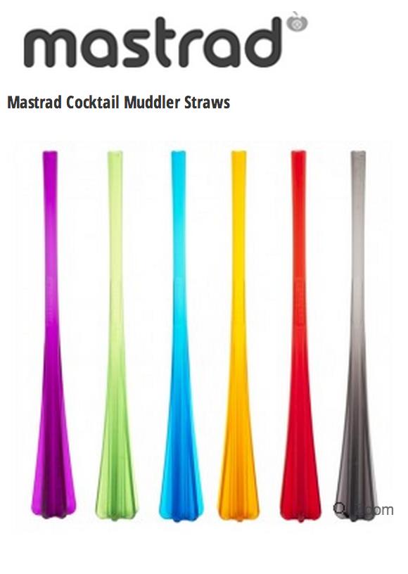 Mastrad Muddler Straws:  Set of 6 Assorted Colors , $9.99