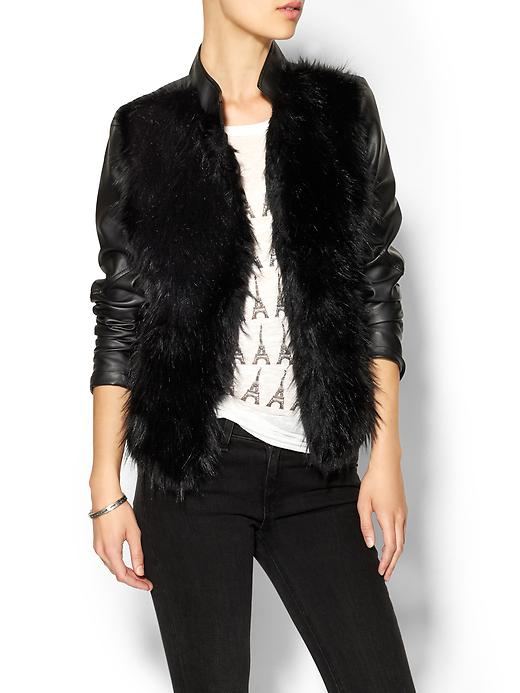 Piperlime Collection faux fur vegan leather jacket in black, $189