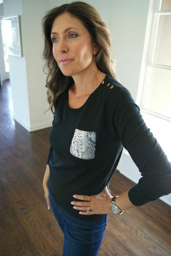 Snake Skin Pocket Sweater in cashmere/silk(Black, Taupe), $150