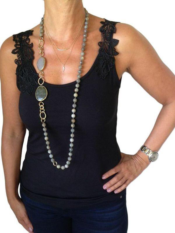 Gold Bar Necklace $60 , Bolt Necklace $60 ,  Long Natural Stone Necklace $180
