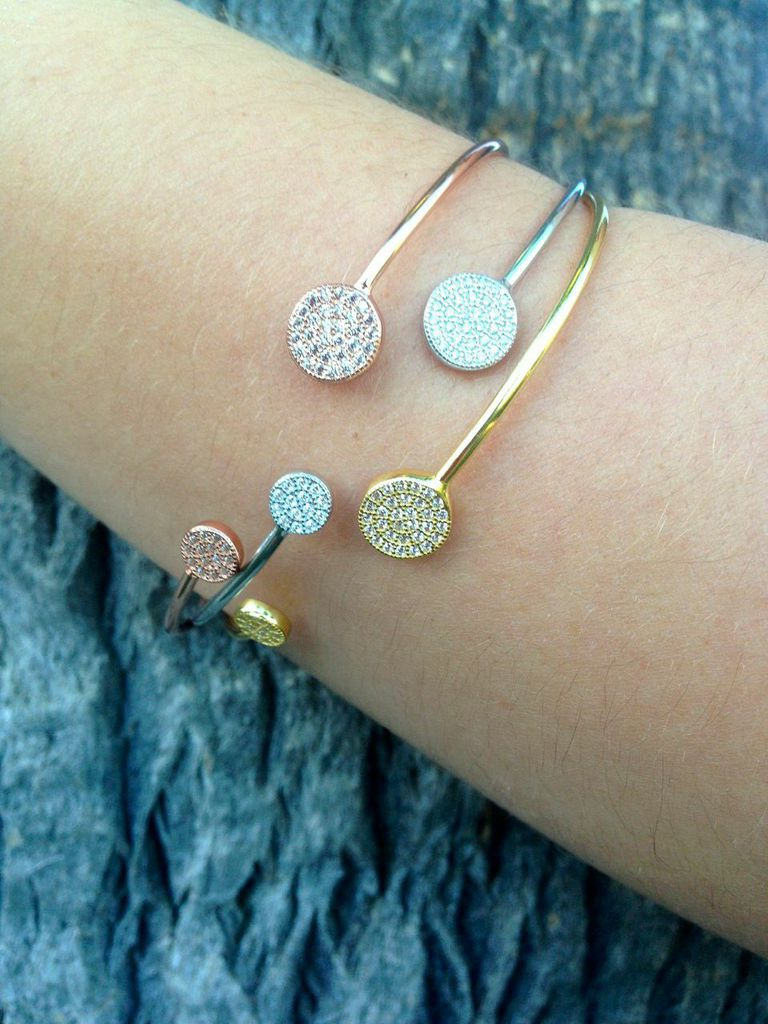 Thin Bangle with Pave Circle $65  each. Available in gold, rose gold and silver.