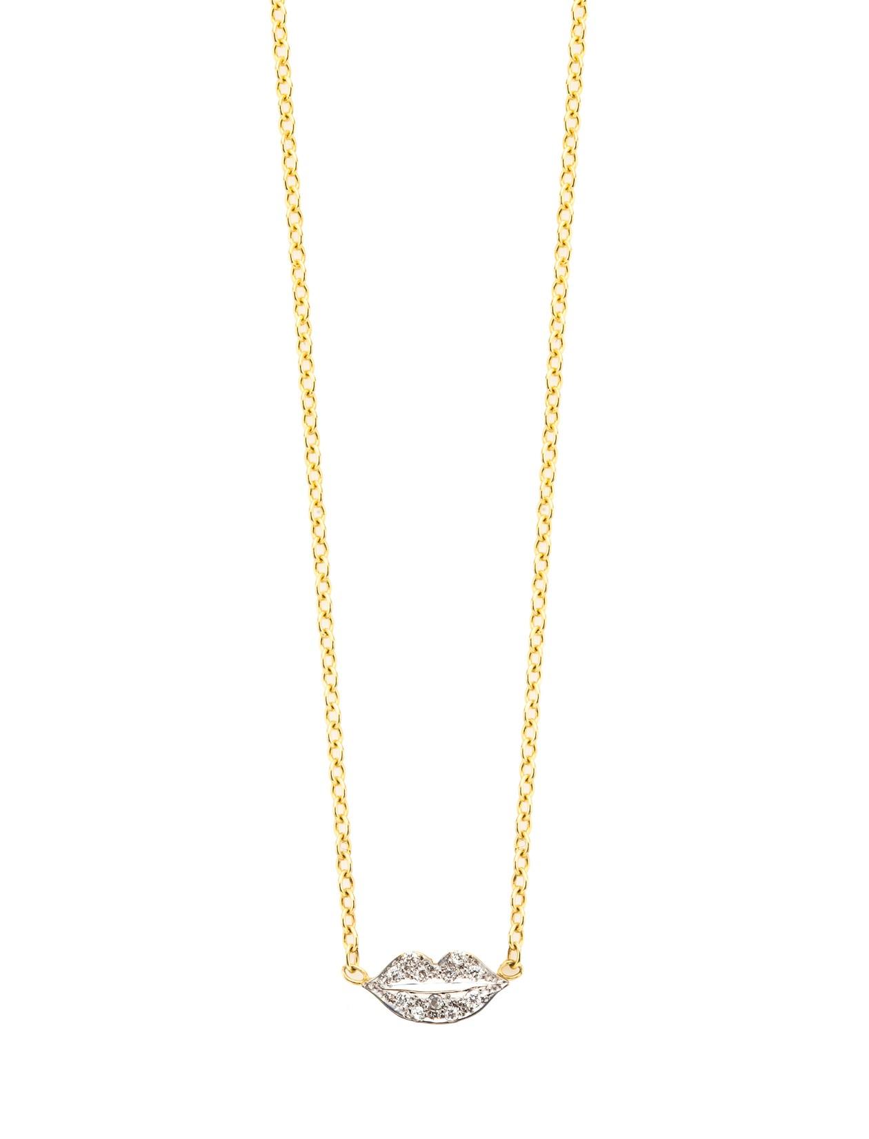 Kacey K lips necklace with  white pavediamonds, $450