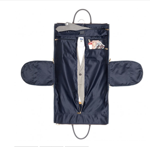 Inside  Gray Waxed Garment Weekender - $395.00  by Hook &Albert