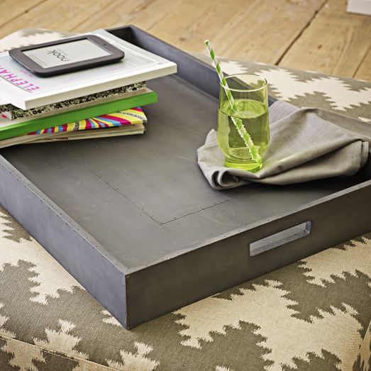 W  est Elm Monogrammed Metal Wrapped   Tray , $59