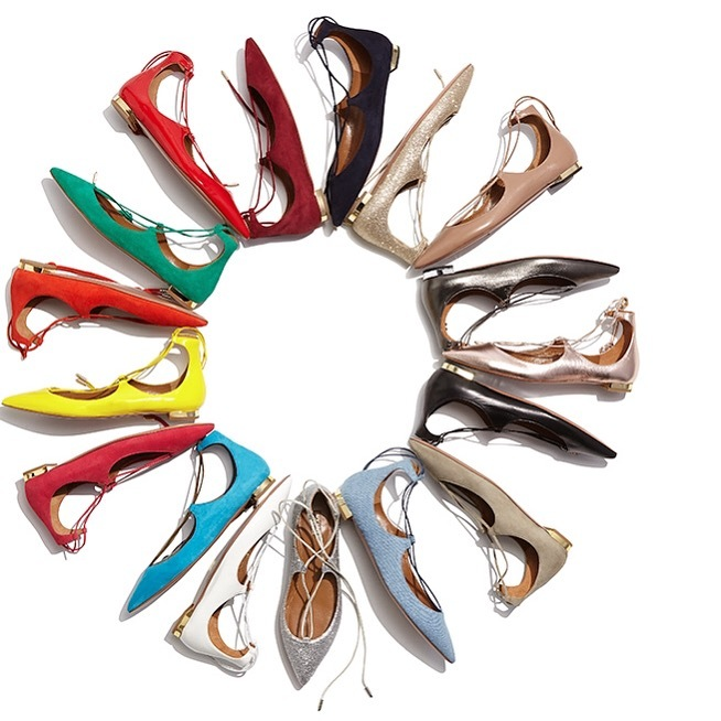 Aquazzura  makes the lace up ballet flat in an array of fun colors. Photo credit: Bergdorf Goodman