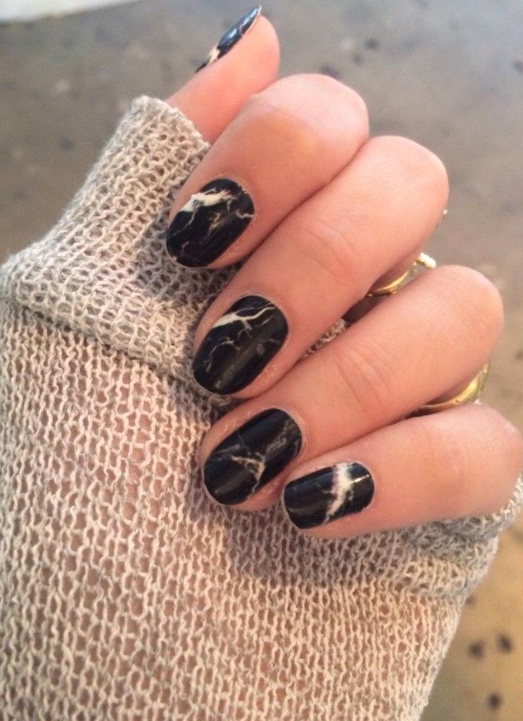 Melissa Meyers Black Marble Nails
