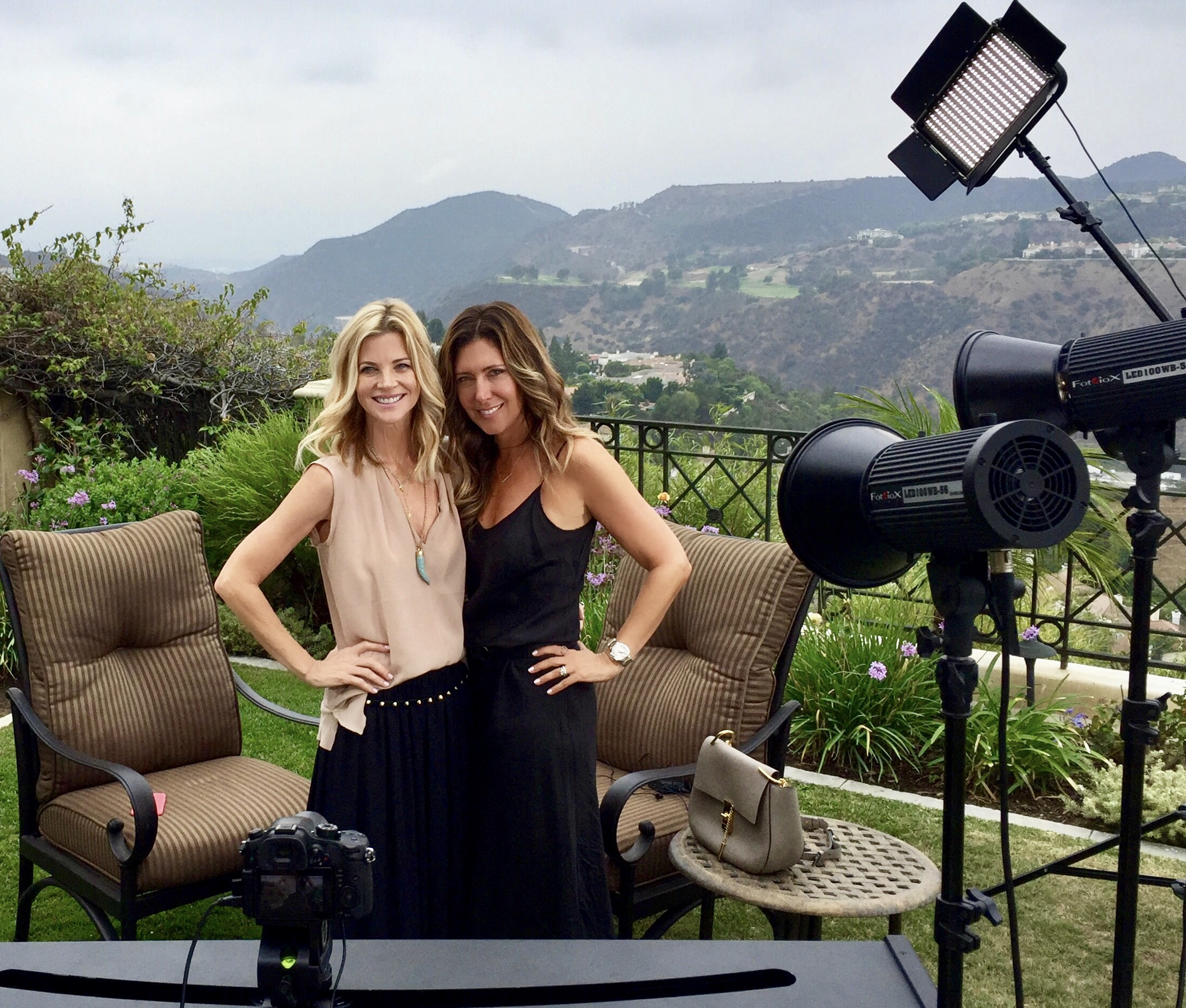 On set in Bel Air, Los Angeles with  Janet Gunn of The Grateful Gardenia