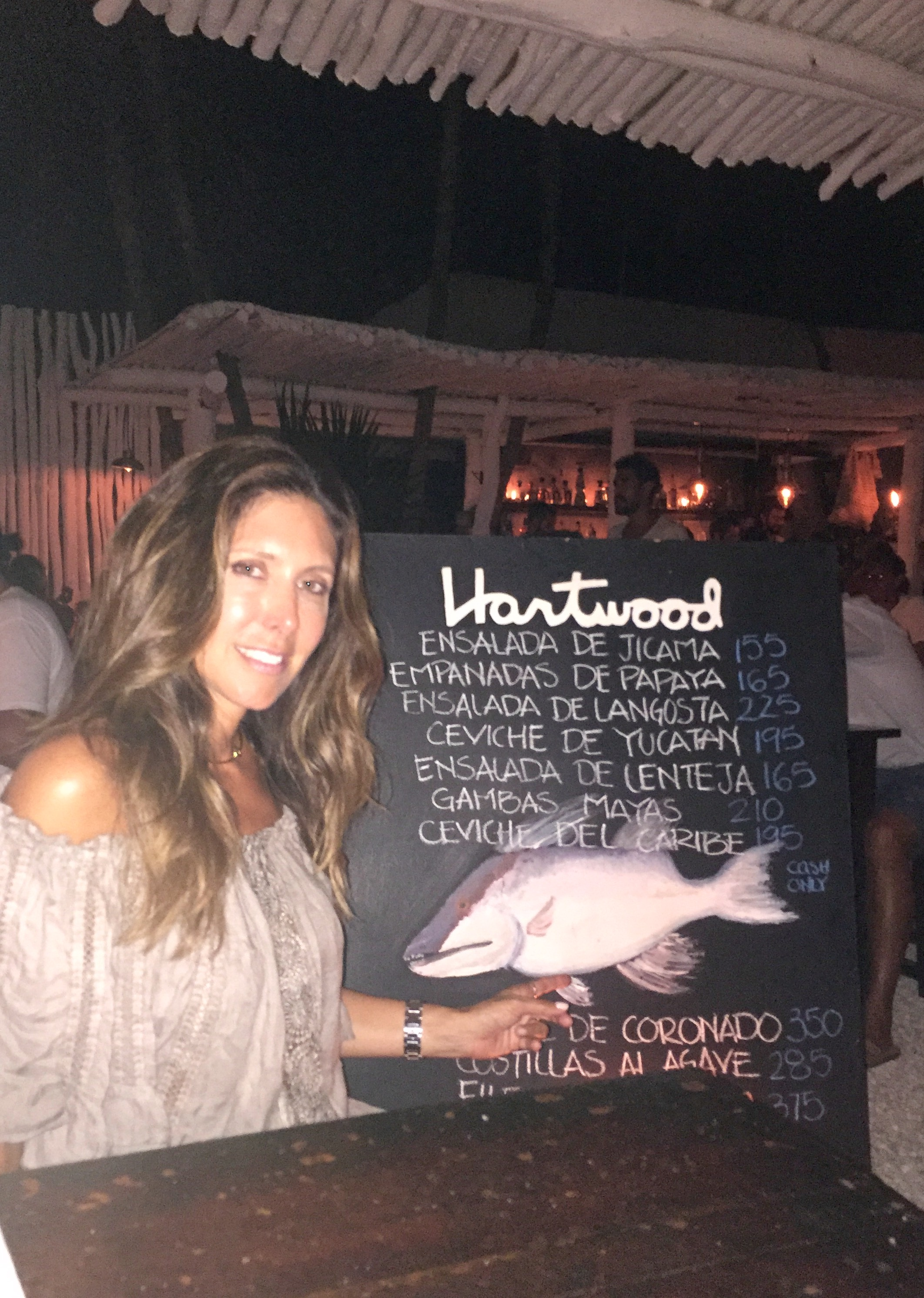 Dinner at Hartwood Tulum.All entrees are cooked on an open fire and wood burning oven and grill.