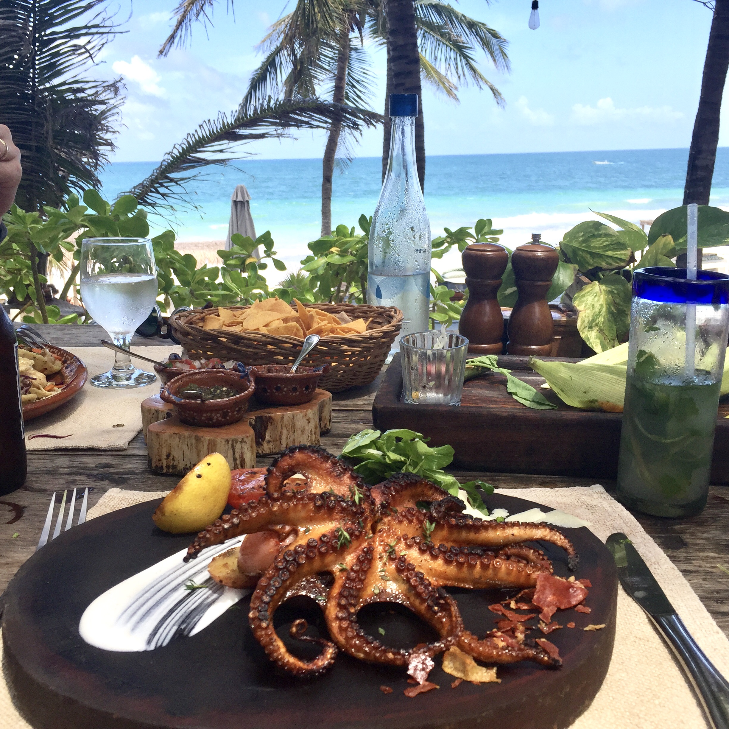 Fresh Grilled Octopus is one of Be Tulum's specialties!