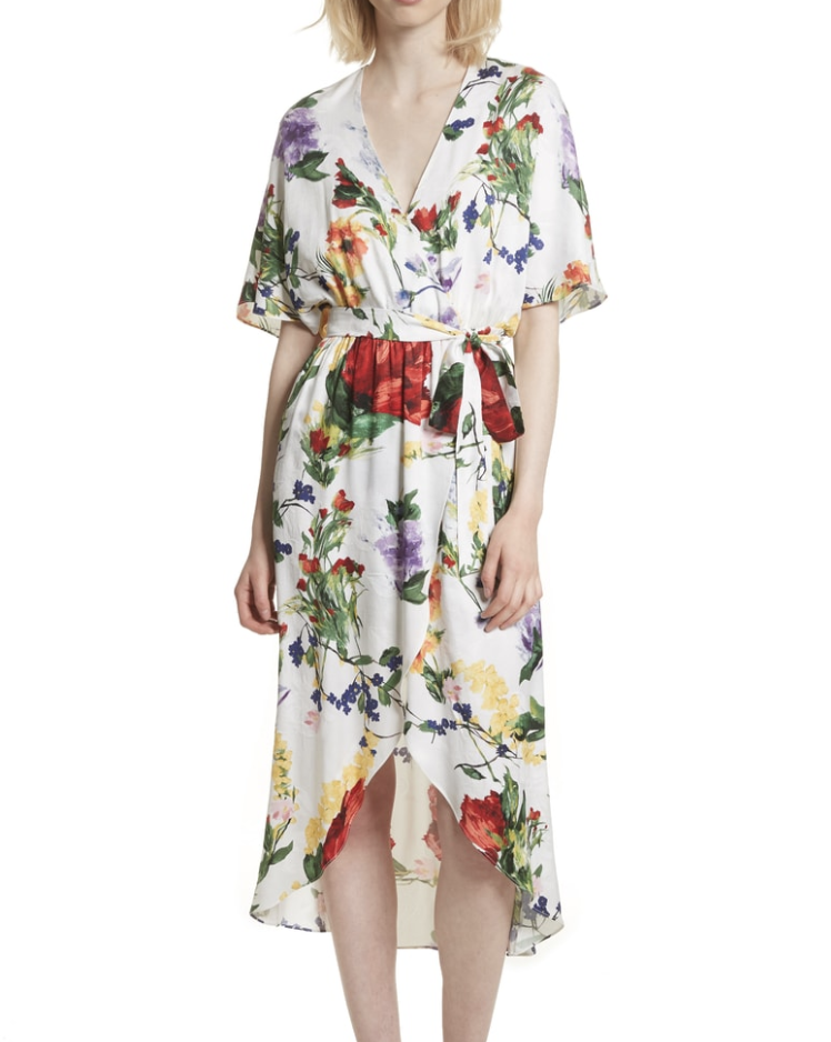Alice & Olivia Floral Wrap Midi Dress