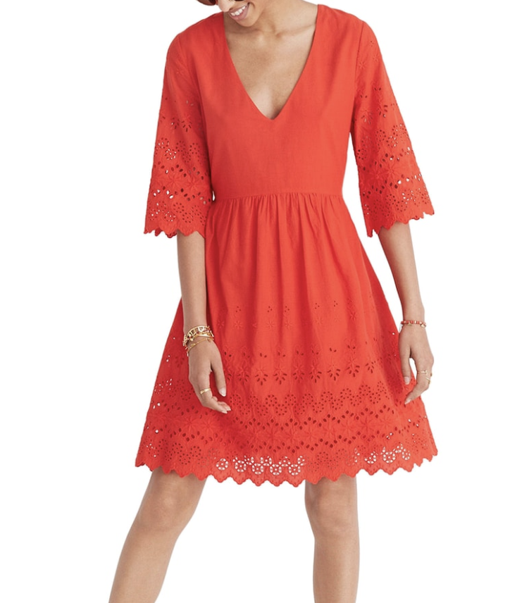 Madewell Eyelet Lattice Dress