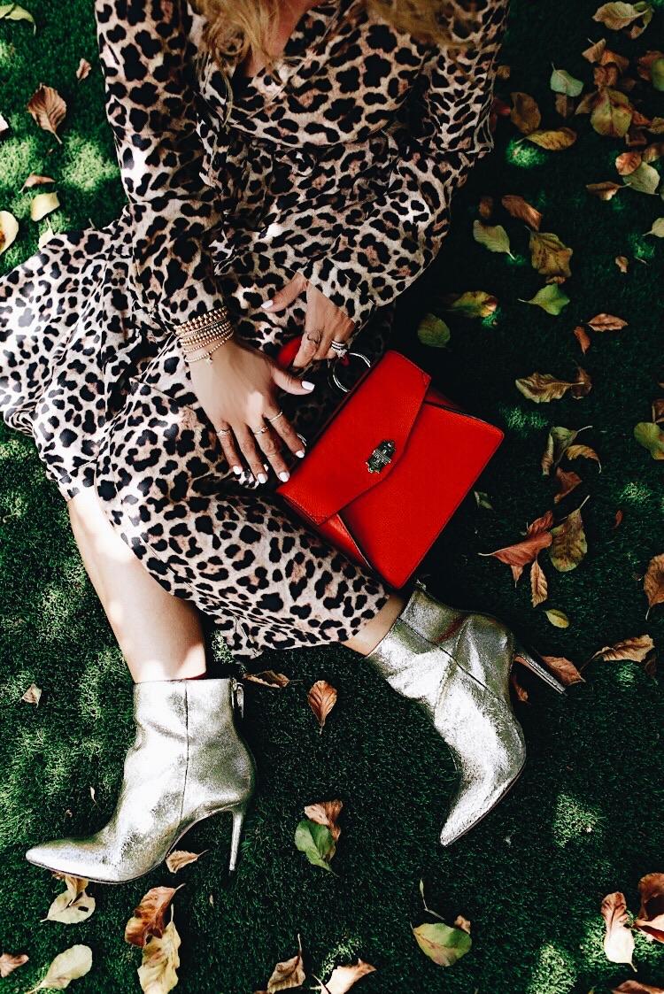 Dress: Zara. Booties: Schutz // Similar gold booties  here  and  here . Bag: Proenza Schouler