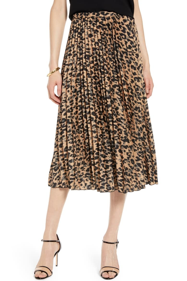 Halogen Pleated Midi Skirt