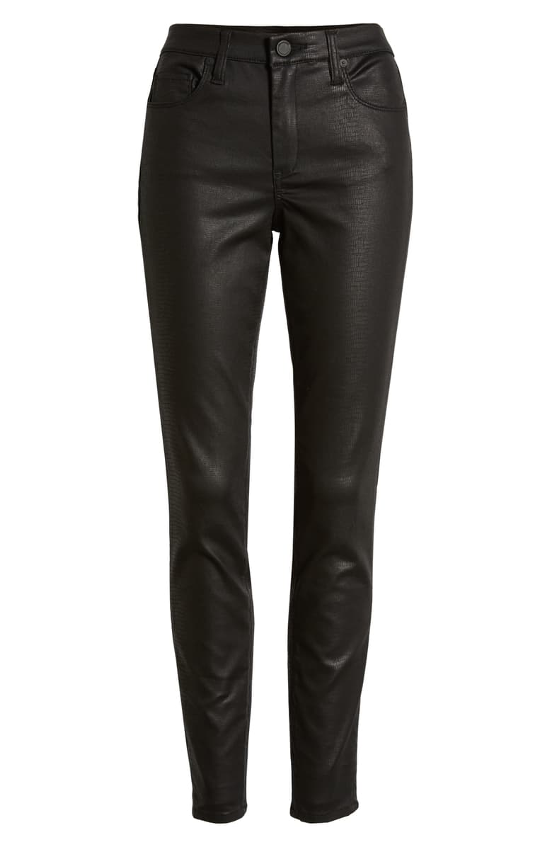 BLANKNYC Reptile Texture Coated High Waist Skinny Jeans