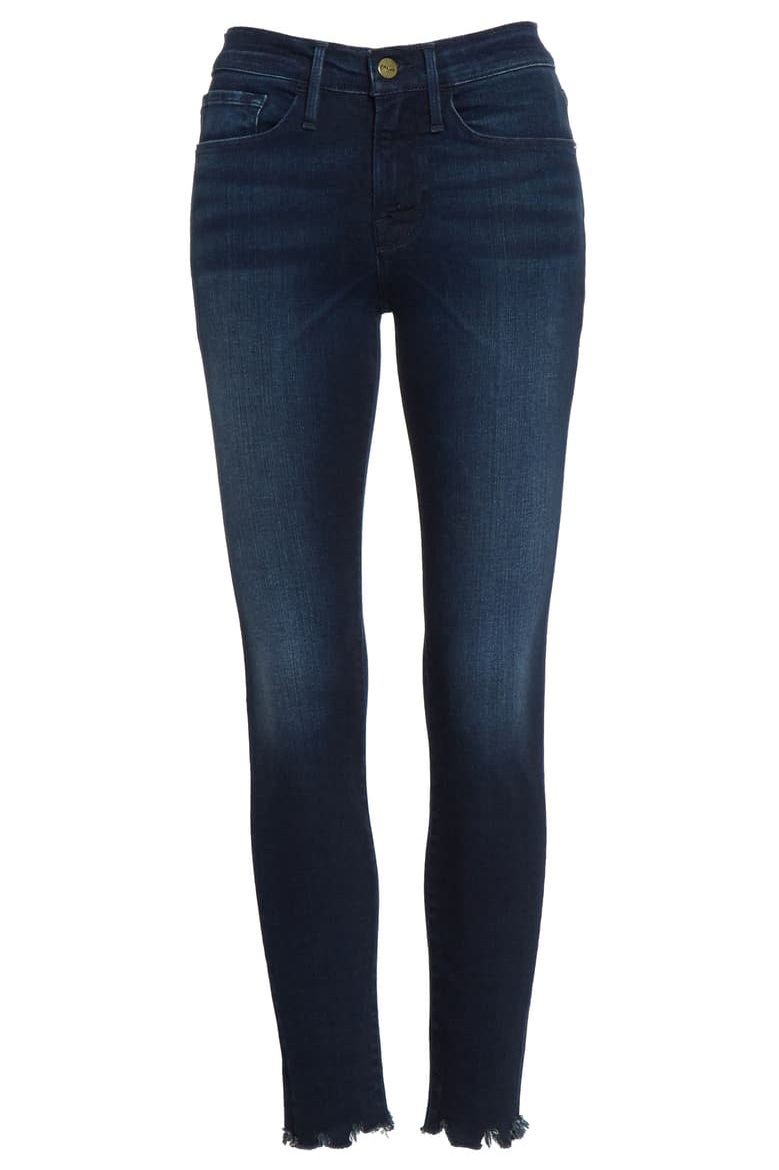 FRAME Le Skinny Chew Hem Ankle Jeans